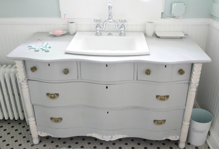 vanity 4 700x477 MONDAY MAKEOVER   Bowfront Dresser made into MASTER BATHROOM VANITY