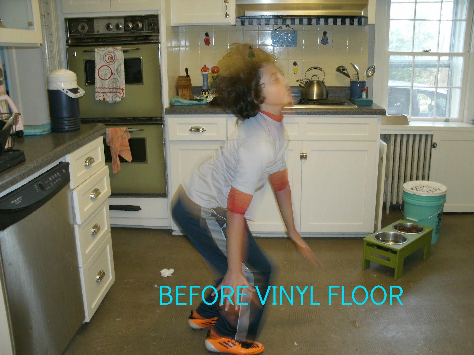 Kitchen Floors Vinyl Monday Makeover Painted Vinyl Kitchen Floor