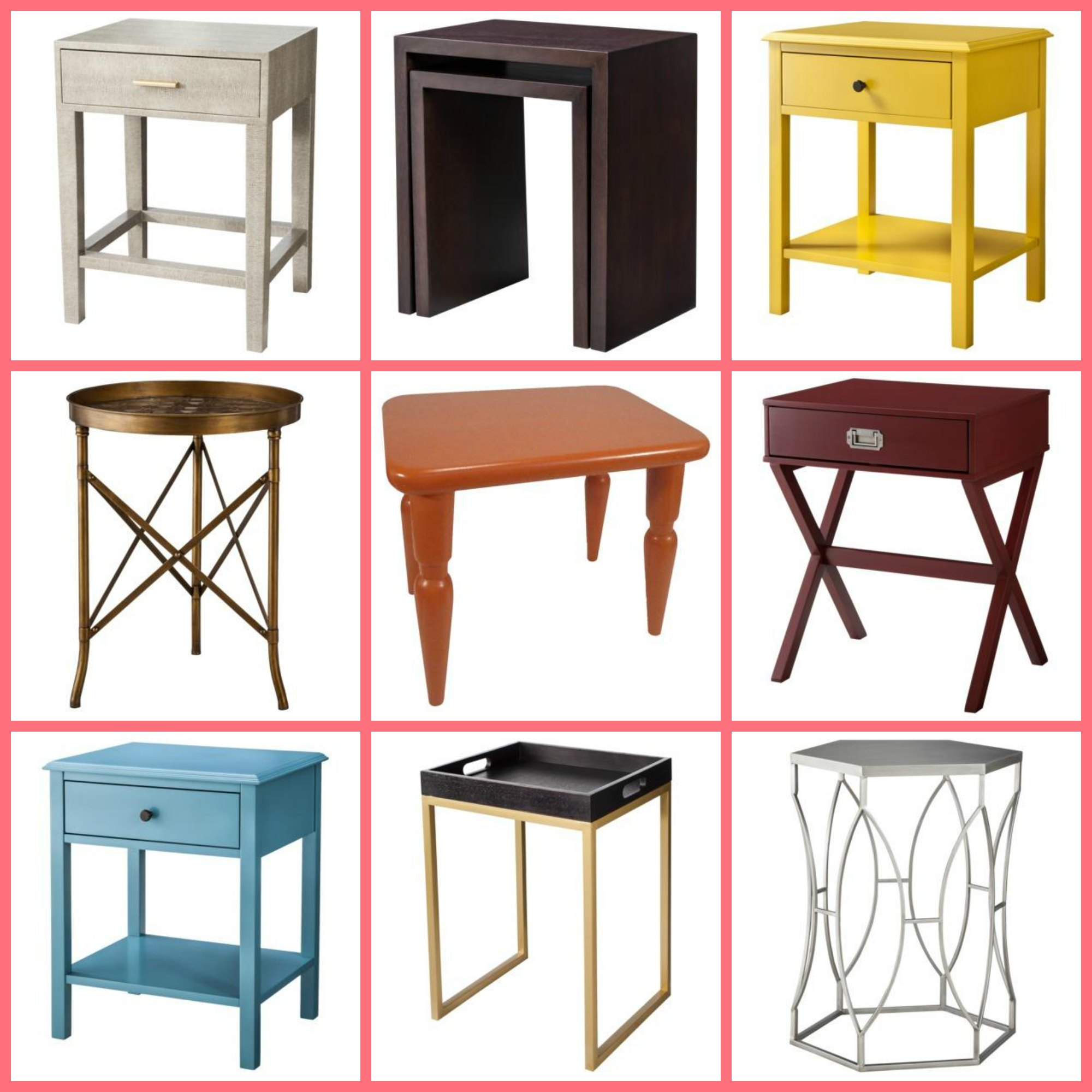 TARGET THRESHOLD ACCENT TABLES: CLOCKWISE FROM TOP LEFT: 1. FAUX SNAKESKIN ACCENT  TABLE , 2. NESTING TABLES 3. WINDHAM SIDE TABLE YELLOW , 4.
