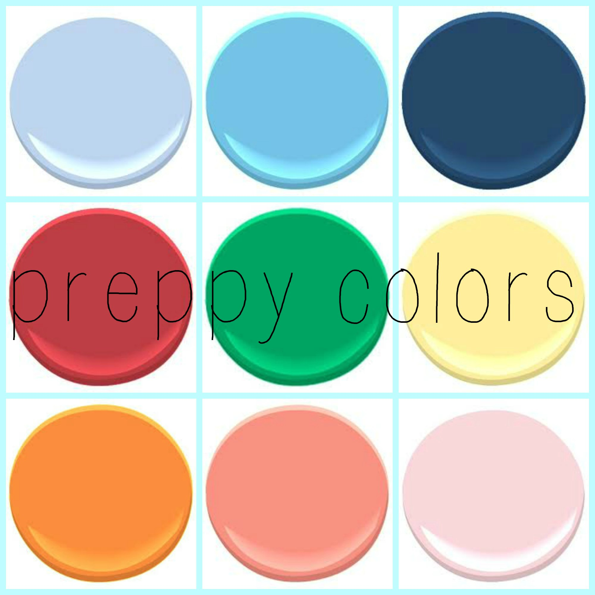 Preppy Colors Any Direction You Go These Compliment Each Other From Top Left All Benjamin Moore Windmill Wings Caymen Blue Downpour