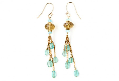 Whiskey Quartz & Apatite Tassel Earrings