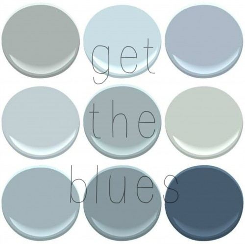 BENJAMIN MOORE BLUES: BOOTHBAY GRAY, BREATH OF FRESH AIR,NOVEMBER SKIES, MT RAINER GRAY, NIMBUS GRAY, QUIET MOMENTS, SANTORINI, VAN CORTLAND BLUE, VAN DEUSEN BLUE