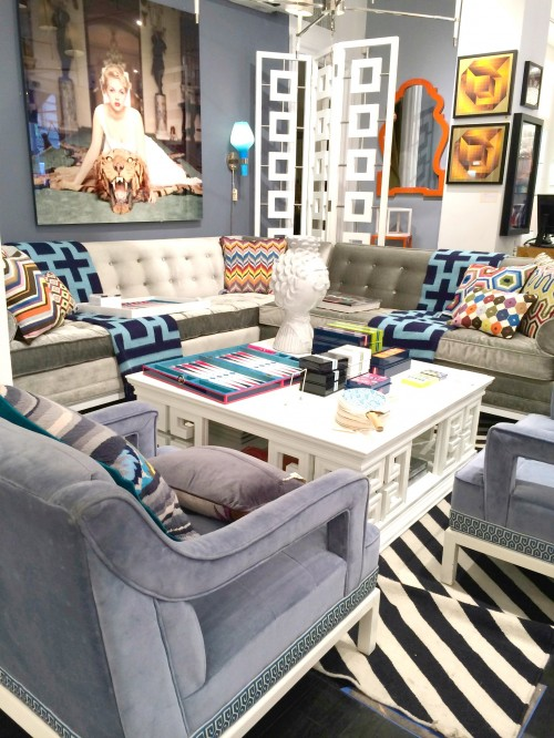 gorgeous blue gray walls and jonathan adler living room - Jonathan Adler Living Room
