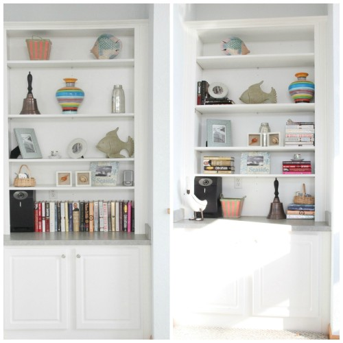 BEFOREAFTERBOOKSHELVES 500x500 MONDAY MAKEOVER   Mc BEACH HOUSE BOOKSHELF