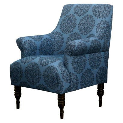 CANDACE UPHOLSTERED ARM CHAIR - TEAL MEDALLION