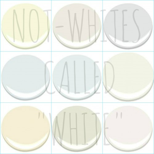 "9 GREAT NON WHITE ""WHITES"" - ALL BENJAMIN MOORE COLORS - ASPEN WHITE, DUNE WHITE, GENESIS WHITE, LILY WHITE, PATRIOTIC WHITE, WHITE CLOUD, WHITE MOUNTAINS, WHITE RIVER, WHITE ZINFANDEL"