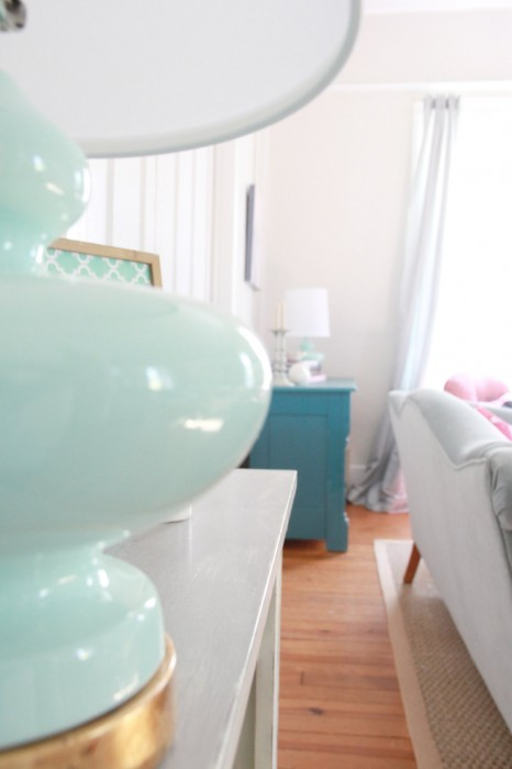 "You may also notice the super cute new Mint green lamps which I got  from ""ONE KINGS LANE"" ...WITH my LAMP AND MINT obsession..I DID NOT STAND A CHANCE!!!!  I LOVE THEM..."