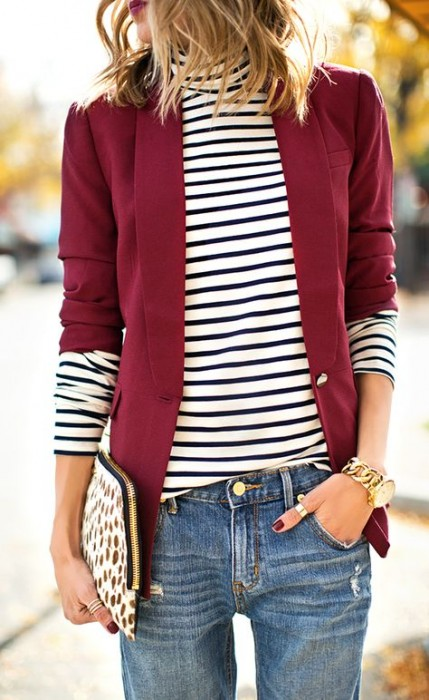 "BURGUNDY WITH STRIPES...TAKING A DIFFERENT SPIN ON THE ""RED, WHITE AND BLUE MOTIF"""