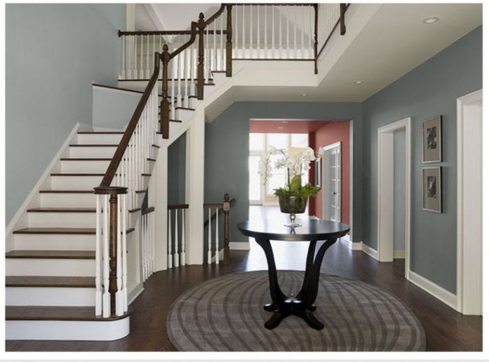 Cindy from The Creativity Exchange on REMODELAHOLIC - CLOUDY GRAY is on the wall to the right and it's lighter counterpart - BM SMOKE IS GOING UP THE STAIRS....