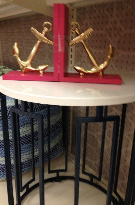 """NAVY TABLE WITH WHITE TOP...PERFECT FOR ANY SPACE...WILL NOT TAKE UP TOO MUCH """"EYE"""" SPACE!"""