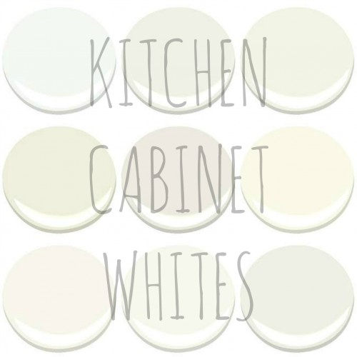 BENJAMIN MOORE - KITCHEN CABINET WHITES: - CHANTILLY LACE, CLOUD NINE, CLOUD WHITE, DEEP IN THOUGHT, GLACIER WHITE, MARSCAPONE, MOUNTAIN PEAK WHITE, SIMPLY WHITE AND WHITE DOVE
