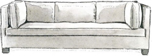 TUXEDO- A signature of society decorator Billy Baldwin, this sofa is luxurious yet decidedly no-frills. A straight profile (the arms and back are the same height) give it a more masculine feel. Works in any room, modern or traditional.