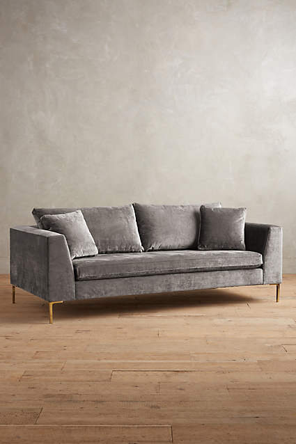 EDLYN COLLECTION, ANTHROPOLOGIE - TWO CUSHION, TWO SEAT, VELVET WITH LEGS AND SQUARE ARMS AND