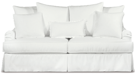 THE FOUR SEASONS ZOE SOFA - ENGLISH ARM, SKIRTED, 2 CUSHIONED AND SLIPCOVERED!