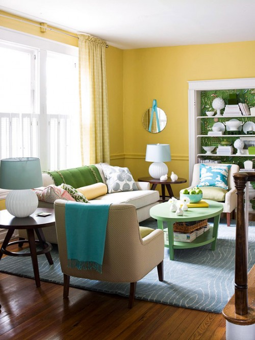 Color combinations yellow and blue for Good colours for living room