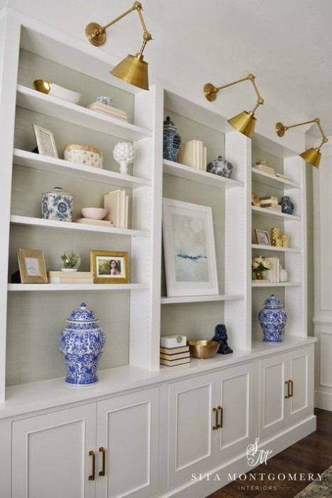 I ADORE SITA MONTGOMERY! AND I AM NUTS ABOUT THESE SHELVES...THEY WOULD BE PERFECT IN OUR UPSTAIRS HALL...WE COULD REALLY USE THE CABINETS UNDERNEATH!!!