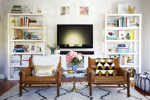 PARSONS BOOKSHELVES FROM WEST ELM IN EMILY HENDERSONS LIVING ROOM