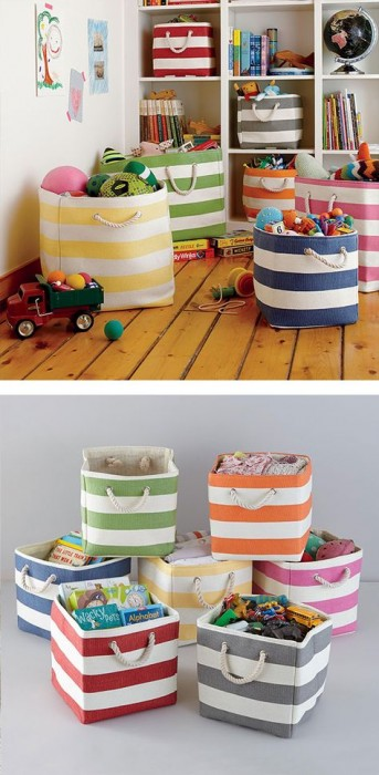 LAND OF NOD - THESE ARE THE PERFECT STORAGE FOR KIDS, COLORFUL, NOT UGLY, WONT CRACK A HEAD OPEN IF YOUR TODDLE TRIPS...YOU CAN BRING SOME CUTE COLOR IN AND CARRY THEY FROM ROOM TO ROOM AS NEEDED.