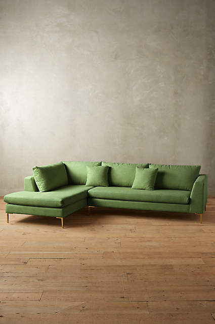 ANTHROPOLOGIE LINEN EDLYN SECTIONAL SOFA -LOVE LOVE LOVE...IMAGINE IS A BLUSH ROOM!!!!!