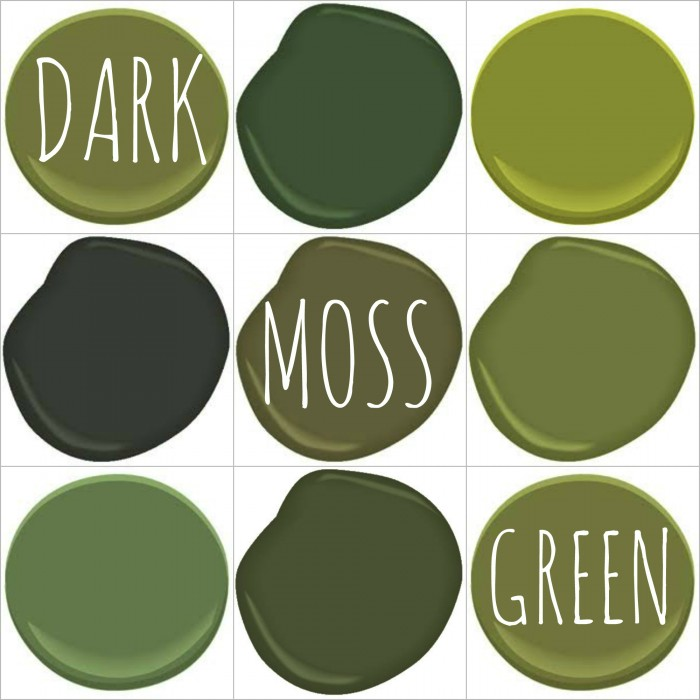 DARK MOSS )OLIVE, AVOCADO) GREEN - ALL BENJAMIN MOORE - AVOCADO, COLONIAL VERDIGRIS, DARK CELERY, WALLER GREEN, ALMER GREEN, TIMSON GREEN, HERB GREEN, WINDSOR GREEN AND TERRAPIN GREEN