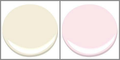"""BENJMAIN MOORE LINEN WHITE AND 50"""" PINK"""