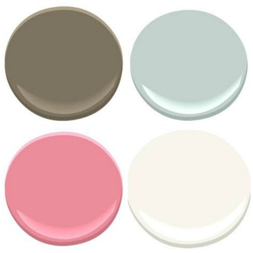 """BENJAMIN MOORE COLORS: CLOCKWISE FROM TOP LEFT: 1. FAIRVIEW TAUPE, 2. WOODLAWN BLUE, 3. MOUNTAIN PEAK WHITE, 4. AUTUMN RED THE WALL COLOR, FAIRVIEW TAUPE, IS EXTRA SPECIAL AS OUR FARMS NAME IS """"FAIRVIEW"""""""