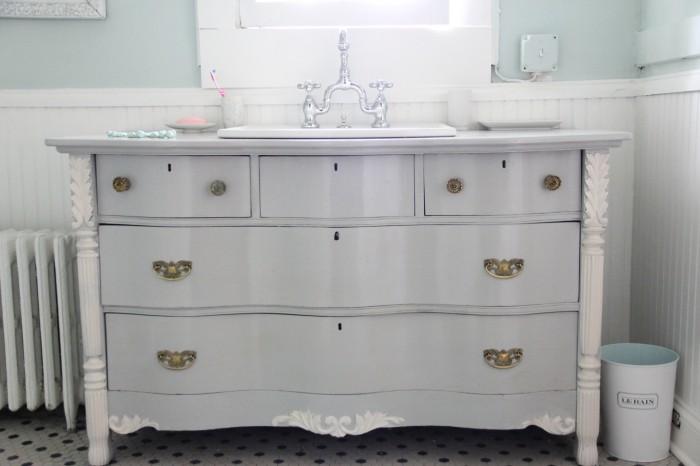 Master Vanity- Bowfront Dresser made into vanity
