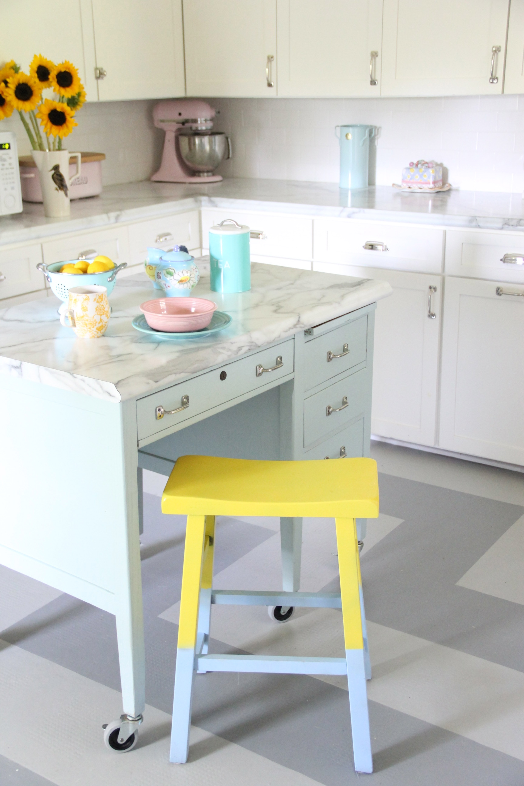 NEW INDUSTRIAL PAINTED KITCHEN ISLAND –