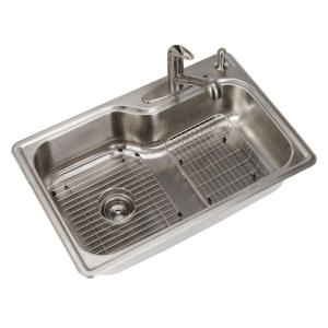 Glacier Bay All-in-One Top Mount Stainless Steel 33x22x8 4-Hole Single Bowl Kitchen Sink