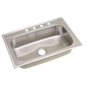 Elkay Signature Top Mount Stainless Steel 33x22x8-1/4 in. 4-hole Single Bowl Kitchen Sink