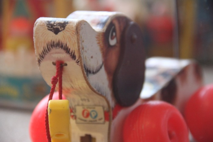 1960'S DOGGIE PULL TOY SEEN AT the new TOY MUSEUM at LURAY CAVERNS, IN LURAY VA...