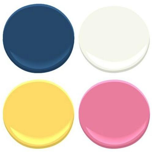 PHOEBE'S ROOM - DOWNPOUR BLUE, COTTON BALLS, PINK LADIES, YELLOW RAIN COAT