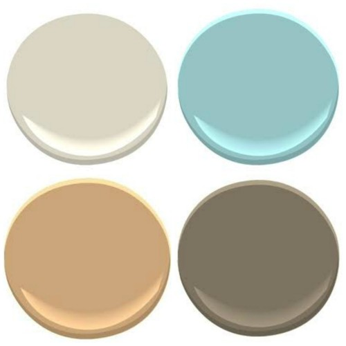 BENJAMIN MOORE: EDGECOMB GRAY, TRANQUIL BLUE, FAIRVIEW TAUPE, ROXBURY CARAMEL