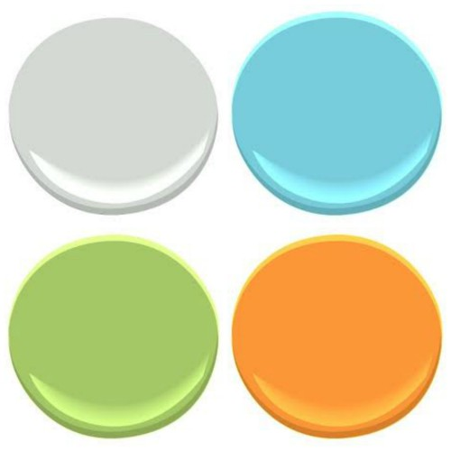 BENJMAIN MOORE: WICKHAM GRAY, FAIRY TALE BLUE, CARROT, SRRING GREEN