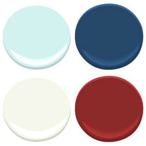 BENJAMIN MOORE: ICEY MOON DROP, DOWN POUR BLUE, CALIENTE, CLOUD WHITE