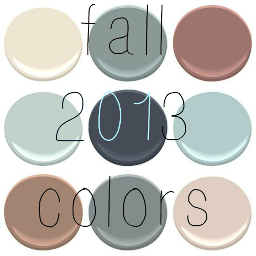 (all Benjamin Moore) clockwise from top left - PRISTINE, ANCHOR GRAY, NEW ENGLAND BROWN, PALLADIAN BLUE, MYSTERIOUS, GOSSAMER BLUE, MUDSLIDE, SHAKER GRAY, SOUTHERN COMFORT (MY FAVORITE!)