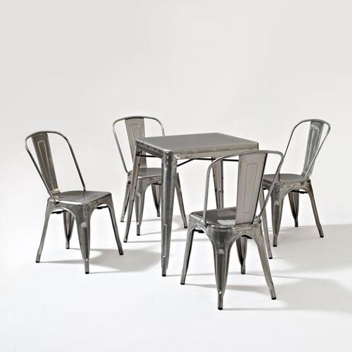 Amelia Five Piece Metal Cafe Dining Set - Table and Four Chairs in Galvanized