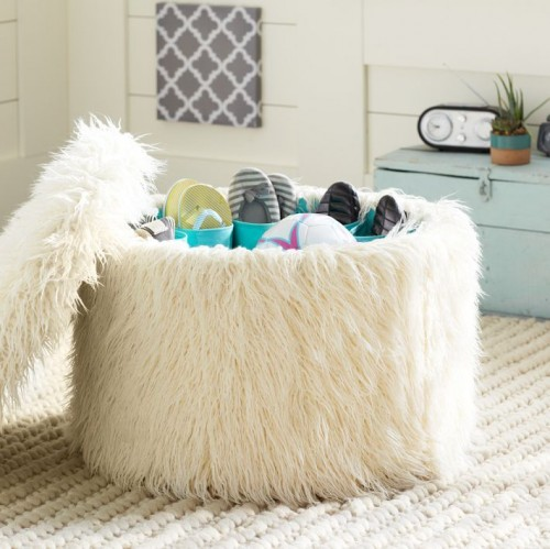 FURRY SHOE STORAGE OTTOMAN FROM PBTEEN