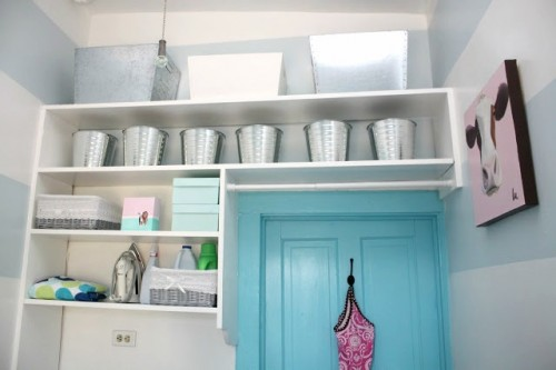 GALVANIZED BINS AND BUCKETS ON THE LAUNDRY ROOM