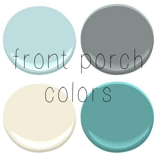 FRONT PORCH – CEILING- BIRDS EGG TRIM- LINEN WHITE, FRONT DOOR – MAJESTIC BLUE, PORCH FLOOR- SHAKER GRAY