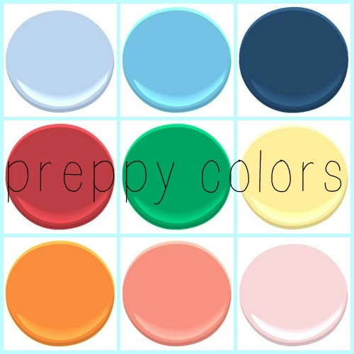 preppy colors - any direction you go, these colors compliment each other - from top left all Benjamin Moore: Windmill wings, Caymen Blue, Downpour Blue, Poppy, Kelly Green, Yellow Lotus, Calypso orange, Coral Gables and Ribbon Pink