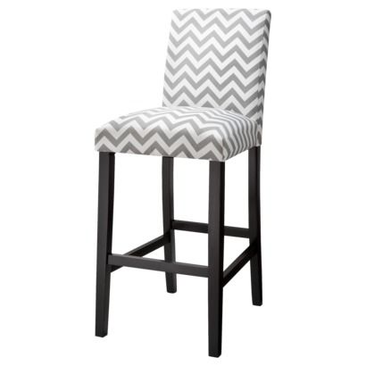 "30"" Uptown Bar Stool - Grey & White Chevron"