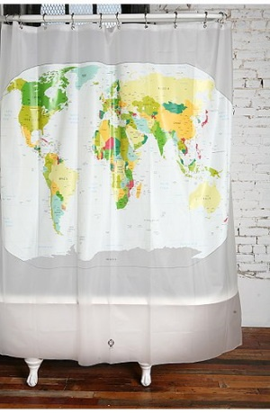 Just B - learn while you bathe! I had a map shower curtain in my very first apartment! and We had a Map shower curtain all through college!