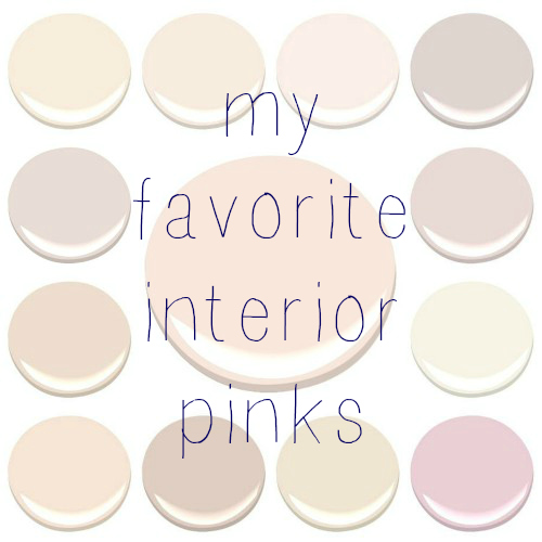 MY FAVORITE INTERIOR PINKS…ALL BENJAMIN MOORE -CLOCKWISE FROM TOP LEFT - AMBROSIA, BLANCHED CORAL, FROSTED PETAL, ORGANDY, PAISLEY PINK, PINK DAMASK, PINK INNOCENCE, PRISTINE, SOUTHERN COMFORTSHEER PINK, TISSUE PINK, AND WILD ASTER ………CENTER – PINK CLOUD