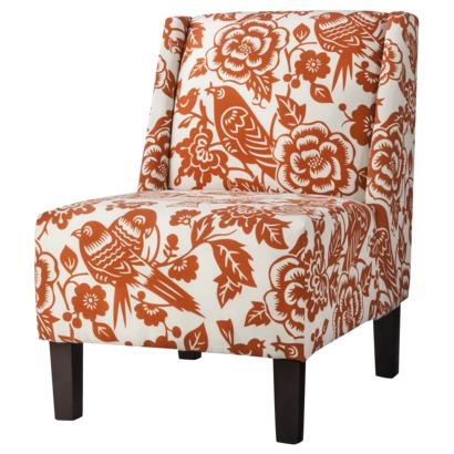 Hayden Armless Chair - Orange Floral