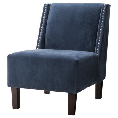 Hayden Armless Chair - Blue Velvet with Nailheads