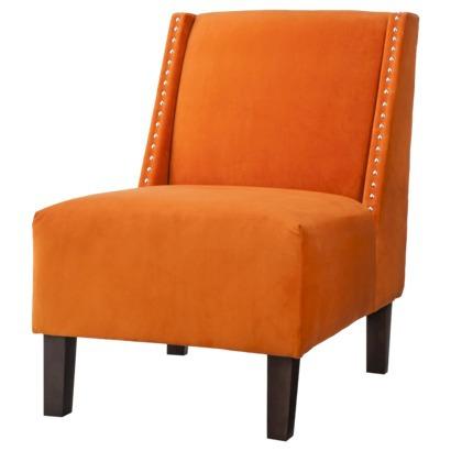 Hayden Armless Slipper Chair - Orange Velvet with Nailheads