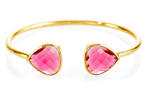Fuchsia Quartz Teardrop Bangle