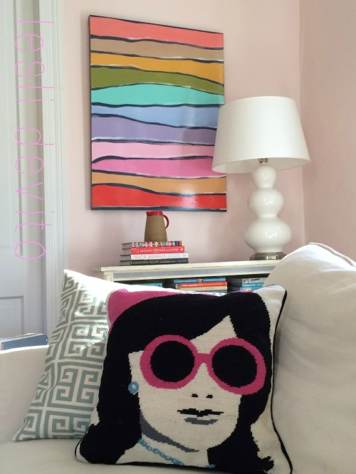 "MY JONATHAN ADLER ""JACKIE O"" PILLOW AND ""SUBTEXT""...NEW PAINTING...THEY CHEER ME UP!"