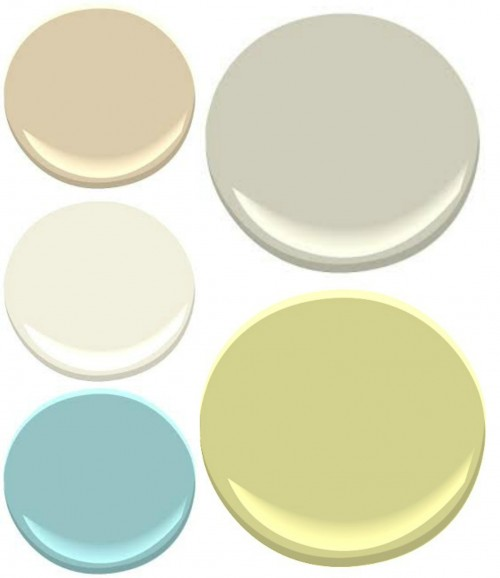BENJAMIN MOORE: (clockwise from the upper left) PUTNAM IVORY, HAZY SKIES, PALE AVOCADO, TRANQUIL BLUE AND TIMID WHITE